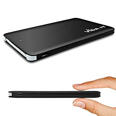 Vida IT vCard+ Slim Power Bank 4000mAh Portable USB Mobile Phone Charger Backup Rechargeable Battery Pack Compatible for iPhone Android USB-C with Built-In Cable Super Thin Pocket Design (Black)