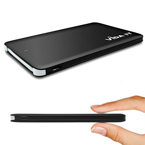 Vida IT vCard+ Power Bank Mini Cargador Portátil de Bolsillo 4000mAh Batería Externa Universal para Viajar Pequeña y Fina Compatible con iPhone Android USB-C y Cable Integrado