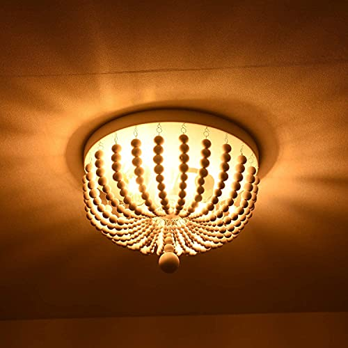 H.W.S - Plafón de salón, de madera, con cuentas de madera, E27, estilo vintage, colgante de lámpara para dormitorio, cocina, comedor, pasillo, lámpara (A)