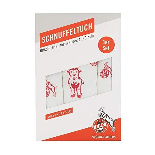 1. FC Köln Baby Mulltuch 3er Set Schnuffeltuch, Spucktuch, Schmusetuch, Kuscheltuch - Plus Lesezeichen I Love Köln