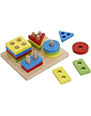 Educational Wooden Shape Sorter Geometric Puzzle Toy For Kids