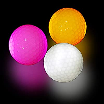 MOR GOLF Glow Golf Balls, LED Constant Shining Golf Balls Glow in The Dark Golf Balls for Sport Multi Colors for Your Choice, Pack of 3, Orange, White, Pink and 3pcs Golf Tees