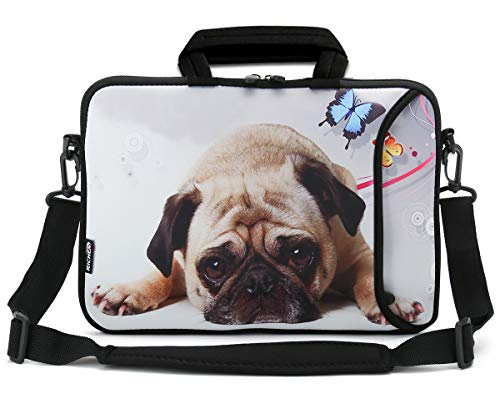 RICHEN 14 15 15.4 15.6 inch Laptop Shoulder Bag Messenger Bag Case Notebook Handle Sleeve Neoprene Soft Carring Tablet Travel Case with Accessories Pocket (14-15.6 inch, Cute Pug)