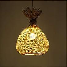 Bambus Rattan Weave Hängelampe, Einstellbare Küche Lampe Anhänger Deckenpendelleuchte für Küche Schlafzimmer Wohnzimmer Restaurants Bar Cafe