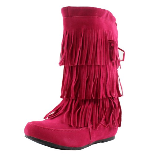 West Blvd Womens Lima Moccasin Boots 3-Layer Fringe Tribal Indian Winter Faux Suede Leather Shoes,Fuchsia Su,7