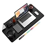 Non-Slip Desk Pad, Waterproof PU Leather Desk Table Protector, Ultra Thin Large Mouse Pad, Easy Clean Laptop Desk Writing Mat for Office Work/Home/Decor(Black, 35.4' x 17')