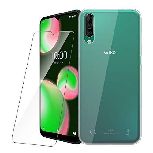 LJSM Hülle für Wiko View 4 Lite + Panzerglas Bildschirmschutzfolie Schutzfolie - Transparent Weich Silikon Schutzhülle Crystal Flexibel TPU Tasche Hülle für Wiko View4 Lite (6.52