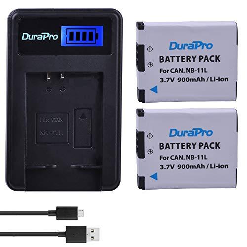 DuraPro 2Packs NB-11L Li-Ionen-Akku NB-11LH + LCD-USB-Ladegerät für Canon PowerShot A2300 A2400 A2500 A2600 A3400 A3500 A4000 is, ELPH 110 115 130 320 340 HS, IXUS 265 132D 140 155 150 145