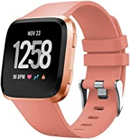 T Tersely Band Strap for Fitbit Versa 2/1 / Versa Lite, Classic Soft TPU Replacement Silicone Sports Adjustable Bands...