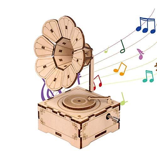 Caja De Música De Gramófono Niños Diy Cajas De Música Caja De Música De Manivela De Madera Grabada Vintage Rompecabezas De Madera 3d Para Regalo De Cumpleaños, Accesorio De Decoración Del Hogar
