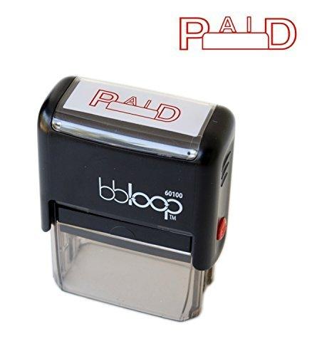 """BBloop""""Paid"""" Self-Inking Stamp, Rectangular. Laser Engraved. RED"""