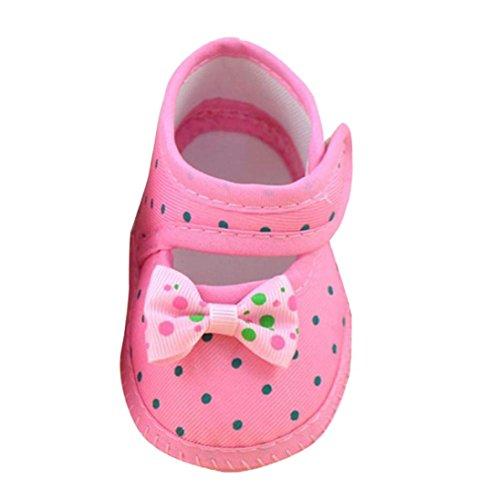 Babyschuhe,Binggong Baby Bowknot Stiefel Weiche Krippen Schuhe Cartoon Baby Kleinkind Baumwolle Schuhe Neugeborene Rutschsicheren Baby Kinder Schuhe Schnüren für Mädchen Junge 0-12 Mon (10cm, Pink)