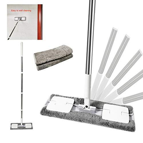 EZ Spares - Mopa de microfibra de madera dura, con 2 almohadillas lavables en seco y húmedo, mango y extensión de acero inoxidable, para limpieza de suelos húmedos o secos (gris)