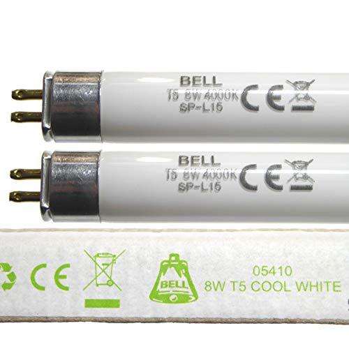 Leuchtstoffröhre, 8 W, T5, 300 mm, Kaltweiß, 4000 K, G5-Sockel für Not- und Lichtstreifen, 8 W, Klingelbeleuchtung, 05410, 2 Stück