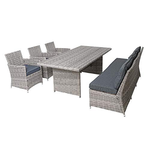 Mendler Poly-Rattan Sitzgruppe HWC-G59, Gartengarnitur Sofa Lounge-Set, 200x100cm - grau, Kissen dunkelgrau