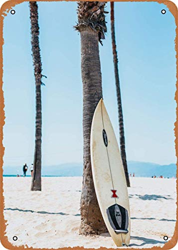 Mar y océano, tabla de surf para descansar, arte de pared, 12 'x 8', cartel retro vintage de hojalata de metal