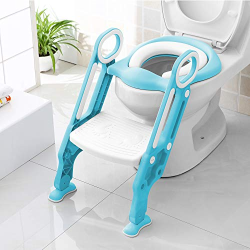 BAMNY Potty Training Seat with Step Stool for Kids, Potty Chair Toddler Toilet Seat with Sturdy Non-Slip Wide Step, Floor Pads, Comfort Handles and Soft Cushion Seat