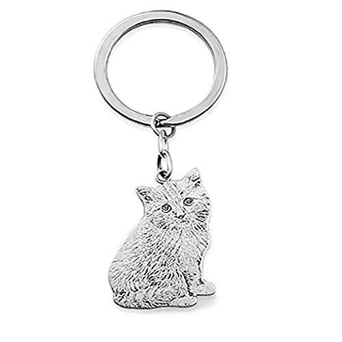 Top WHY Personalizado personalizado mascota llavero plata grabada foto llavero-mejor regalo conmemorativo para el amante