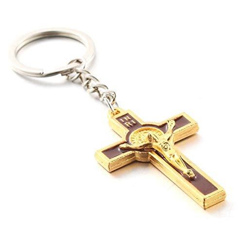 5.4 * 3.2CM Kruzifix Jesus Keychain for Frauen-Mann Schlüsselanhänger Tasche Anhänger Schlüsselanhänger Christian Schmuck Accessoires Geschenk (Color : A)