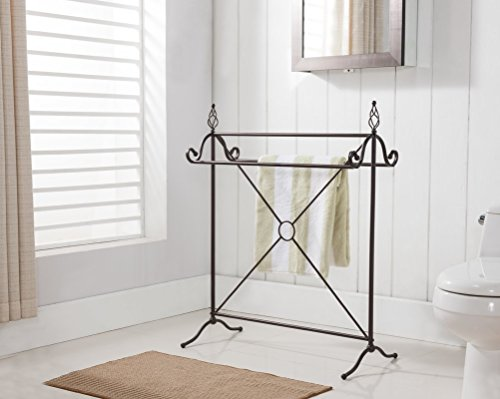 Quilt Rack Free Standing In Bronze Color Made of Metal With Stylish Design Will Help You Organize Your Bedroom