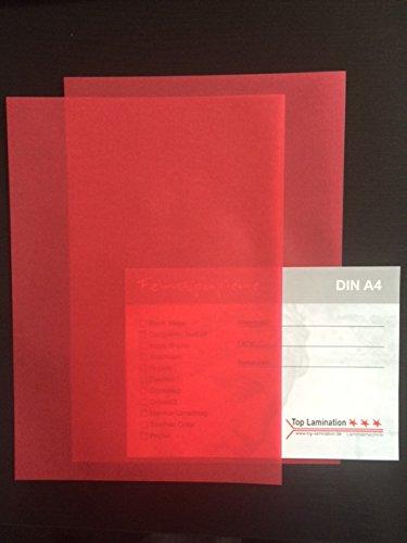100hojas de papel DIN A5transparente Zanders Spectral Rojo 100g/m² Excelente traspaso, muy buena calidad, para invitaciones, tarjetas de visita, plantilla hojas para álbumes, tarjetas de boda, menús, manualidades y mucho más