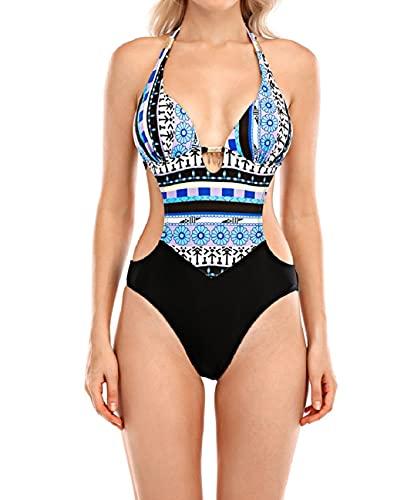 Yuson Girl Bikini Brasiliana Donna,Swimsuit Bikini Push up, Costumi da Bagno Bikini, One Piece Monokini Attraverso Spalla Beachwear, Pizzo Cutout Costume Donna Mare Spiaggia