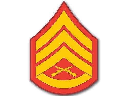 USMC Rank Staff Sergeant Stripes Chevron Shaped Sticker (Military ssgt)