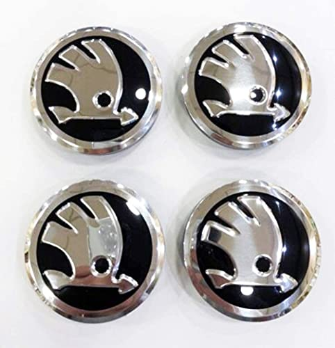 Capas del centro de HUB 4 x 56 mm Black Wheel Center Caps Badges Se adapta a Skoda Fabia, Octavia, Superb, Yeti