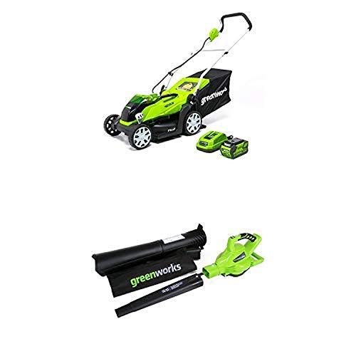 Greenworks 14-Inch 40V Cordless Lawn Mower with 40V 185 MPH Variable Speed Cordless Blower Vacuum Battery Not Included 24312 -  Sunrise Global Marketing, LLC
