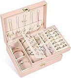 Voova Caja Joyero para Mujer, Organizador Joyas de 2 Niveles, Grande Jewelry Organizer Box de PU Cuero, Caja Joyería de Tabique Extraíble para Anillos Pendientes Pulseras y Collares
