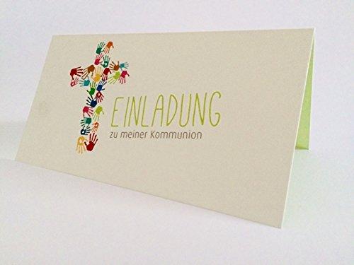 """Hochwertige Einladungskarten zur Kommunion aus Naturpapier 5 Stück ( Kreuz aus bunten Kinderhänden ) mit Innentext """"Einladung zu meiner Kommunion"""""""