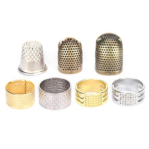 7Pcs Sewing Thimble Ring Brass Finger Protection Finger Shield Sleeve Knitting Fingertip Protector Knitting Supplies