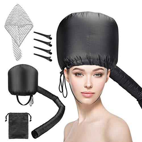 CestMall Bonnet Hood Set de accesorios para secador de pelo con capota de secador de pelo suave ajustable, toalla de microfibra, 4 pinzas para el pelo para secar, peinar, rizar, acondicionamiento