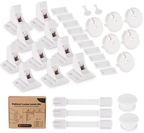 Babysicherheit Magnetisches Schrankschloss 10 Schlösser mit 2 Schlüssel Unsichtbare Kindersicherung für Schrank und Schubladen, mit 3 Kindersicherung Toilettendeckel, 6 Steckdosen Kindersicherung