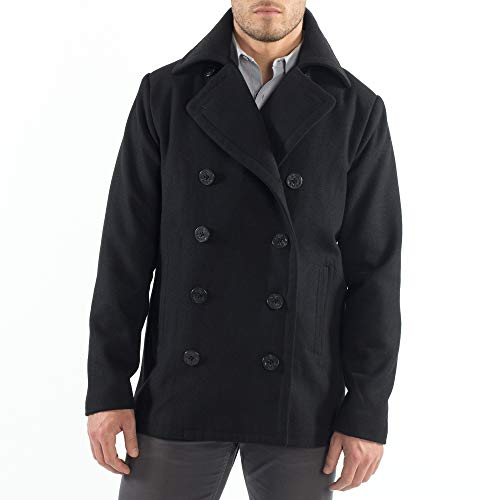 Alpine Swiss Mason Mens Wool Blend Classic Pea Coat Black Large