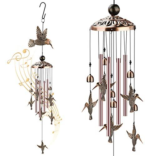 Campanas de colibrí para exteriores con 4 tubos de aluminio, 6 campanas, 7 colibríes de 35 pulgadas, impermeable, para transportar viento, colibrí, para regalos, balcón, festival, jardín