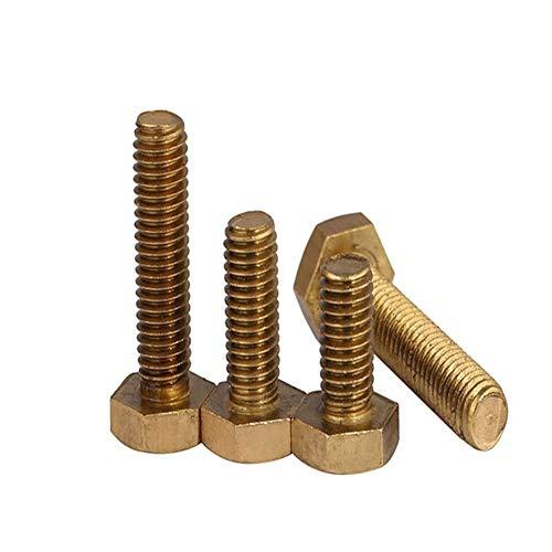 HLY-Tornillos 10 piezas M6 x 10/12/16/20/25/30/35/40/45/50-80 tornillos de rosca métrica de cobre DIN933 tornillo hexagonal de latón (color: 50 mm, tamaño: M6)