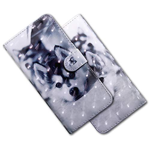 MRSTER Huawei Y5 2018 Handytasche, Leder Schutzhülle Brieftasche Hülle Flip Hülle 3D Muster Cover mit Kartenfach Magnet Tasche Handyhüllen für Huawei Y5 2018 / Honor 7S. BX 3D - Husky