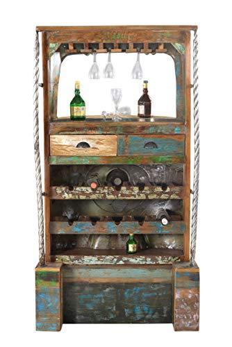 Sit Möbel Barschrank TUK-TUK, This & That, recyceltes TUK TUK mit Altholz, schwarz-gelb mit bunt,