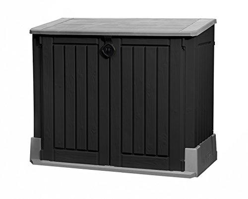 Koll Living Vuilcontainerbox/opbergbox met 845 l inhoud – 130 x 74 x 110 cm – tuingereedschap regenveilig opbergen of vuilnisbakken onopvallend neerzetten – afsluitbaar