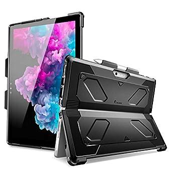 i-Blason Armorbox Series Case Designed for Microsoft Surface Pro 7  2019  / Pro 6  2018  / Pro 5  2017  / Pro 4  2015  Heavy Duty Dual Layer Hybrid Kickstand Case with Pencil Holder  Black