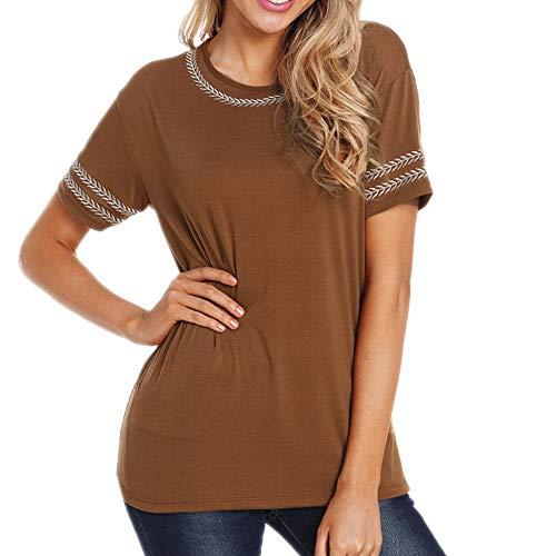 anYanZiBaiH T-Shirt Estiva Manica Corta da Donna a Maniche Corte in Contrasto Colore