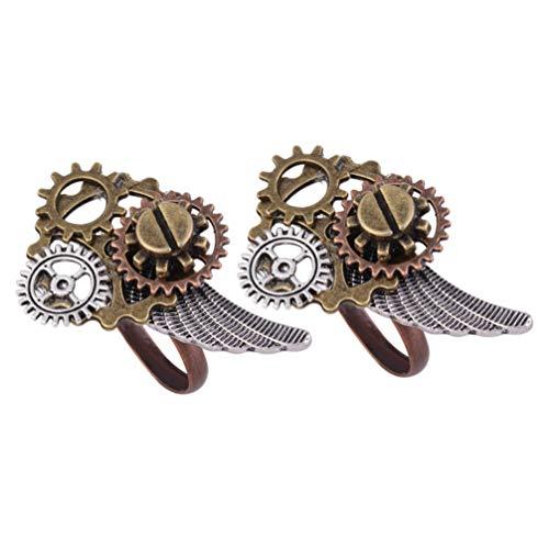Happyyami Steampunk Uhr Zahnringe Vintage Legierung Ringe Metallringe für Männer Frauen Fingerdekoration 2St