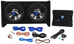 "Rockville RV10. 2B 1000w Dual 10"" Car Subwoofer Enclosure+Mono Amplifier+Amp Kit Rockville RV10. 2B Dual 10"" Bass Enclosure System With matching Mono Block Amplifier. 1000 Watts Peak Power / 350 Watts RMS CEA-2031 Rating. Dual 10"" Bass Enclosure Syst..."