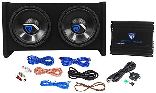 Rockville RV10.2B 1000w Dual 10' Car Subwoofer Enclosure+Mono Amplifier+Amp Kit