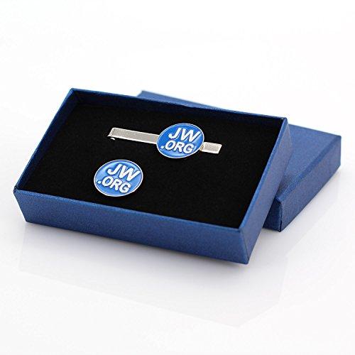 TONOS Jw.org Metal Necktie Clip and Lapel Pin Gift Set (Silver Color)