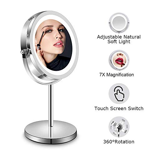 Lighted Makeup Mirror - 7x LED Magnifying Mirror, 360°Rotation, Double-Sided Vanity Mirror with LED Lights, Travel Makeup mirror with Stand, Battery Operated, Ideal for gifts, 1x 7.5 Inch