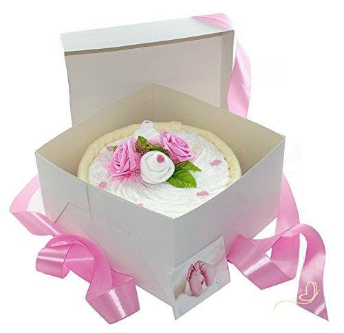 dubistda© Windeltorte CAKEBOX für Mädchen rosa | Geschenk für Mädchen zur Geburt Babyparty Babyshower (rosa)