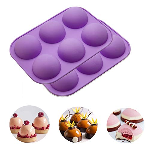 2Pack Chocolate Silicone Mold, 6-Cavity Round Shape Silicone Baking Molds for Candy Mini Soap, Cake, Jelly, Pudding, Ice Cube Bread Cupcake and Jello