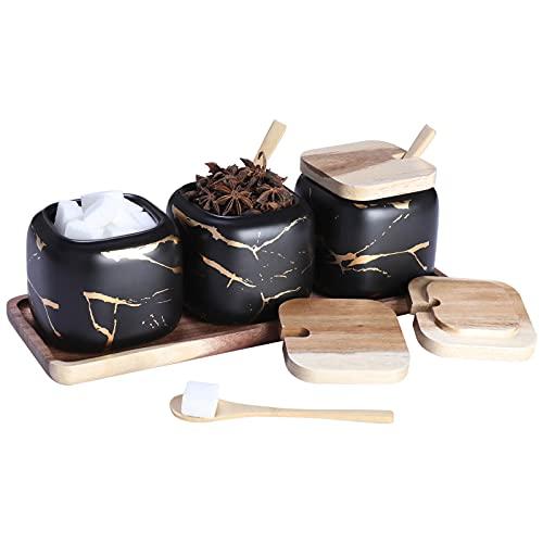 Gewürzgläser Set, 3 Stk Keramik Zuckerdose mit Deckel und Löffel Bambus für Haus und Küche, Alternative zu Gewürzständer und Gewürzregal für Küche und Esstisch, Schwarzes Marmormuster